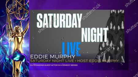 """Eddie Murphy accepts the Emmy for Outstanding Guest Actor In A Comedy Series for """"Saturday Night Live"""" for """"Host: Eddie Murphy"""" during the 2020 Creative Arts Emmy Awards telecast on at 8:00 PM EDT/5:00 PM PDT on FXX"""