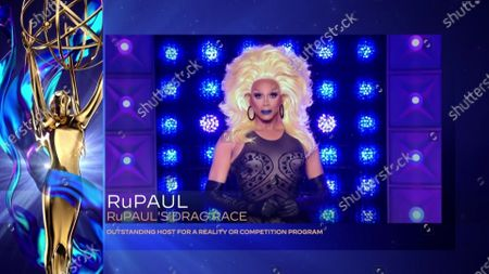 """RuPaul accepts the Emmy for Outstanding Host For A Reality Or Competition Program for """"RuPaul's Drag Race"""" during the 2020 Creative Arts Emmy Awards telecast on at 8:00 PM EDT/5:00 PM PDT on FXX"""