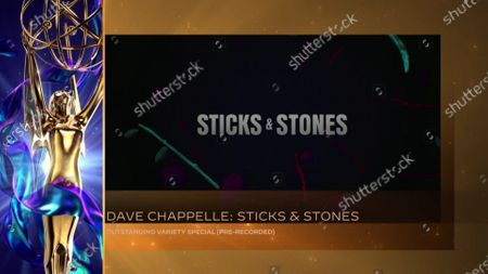"""Dave Chappelle accepts the Emmy for Outstanding Variety Special (Pre-Recorded) for """"Dave Chappelle: Sticks & Stones"""" (The Academy accepted on his behalf) during the 2020 Creative Arts Emmy Awards telecast on at 8:00 PM EDT/5:00 PM PDT on FXX"""