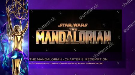 """Stock Photo of Ludwig Goransson accepts the Emmy for Outstanding Music Composition For A Series (Original Dramatic Score) for """"The Mandalorian"""" for """"Chapter 8: Redemption"""" during the 2020 Creative Arts Emmy Awards telecast on at 8:00 PM EDT/5:00 PM PDT on FXX"""