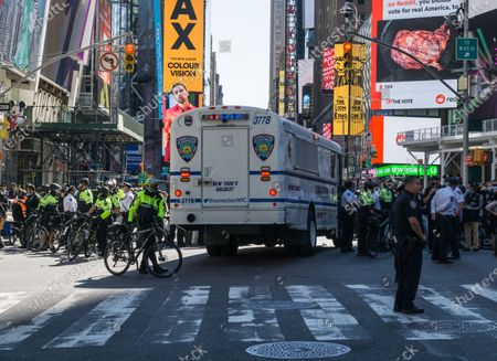 Anti-Immigration and Customs Enforcement (ICE) protesters standoff with NYC Police in Times Square.