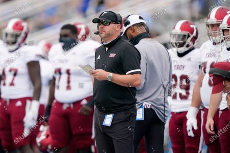 Troy head coach Chip Lindsey watches the action in the first half of an NCAA college football game against Middle Tennessee, in Murfreesboro, Tenn