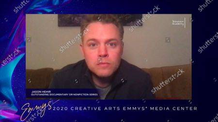 """Jason Hehir speaks in the 2020 Creative Arts Emmy Awards Media Center, after receiving the Emmy for Outstanding Documentary Or Nonfiction Series for """"The Last Dance"""", on Saturday, Sept.19, 2020 at 8:00 PM EDT/5:00 PM PDT on FXX"""
