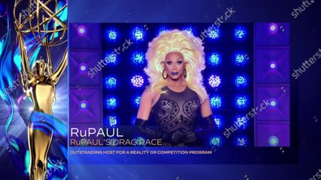 """Stock Picture of RuPaul accepts the Emmy for Outstanding Host For A Reality Or Competition Program for """"RuPaul's Drag Race"""" during the 2020 Creative Arts Emmy Awards telecast on at 8:00 PM EDT/5:00 PM PDT on FXX"""