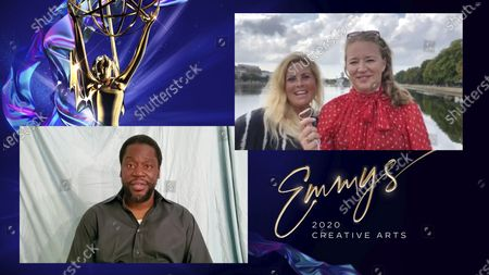 """Daryl Mitchell presents the Emmy for Exceptional Merit In Documentary Filmmaking to Sigrid Dyekjær and Kristine Barfod for """"The Cave"""" during the 2020 Creative Arts Emmy Awards telecast on at 8:00 PM EDT/5:00 PM PDT on FXX"""