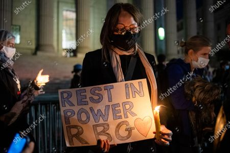 Editorial photo of Vigil Held In NYC For Ruth Bader Ginsburg, New York, USA - 19 Sep 2020