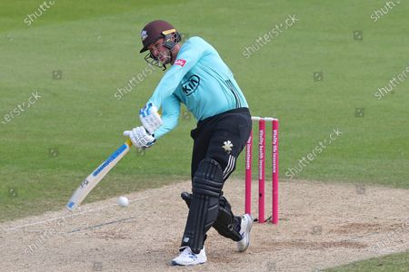 Jason Roy of Surrey hits the ball for four runs