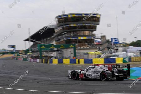 Rebellion Racing (starting no.3) in a Rebellion R13 Gibson with Romain Dumas of France, Nathanel Berthon of France and Louis Deletraz of Switzerland in action during the Le Mans 24 Hours race in Le Mans, France, 20 September 2020. The race is scheduled to finish at 2.30 pm local time.