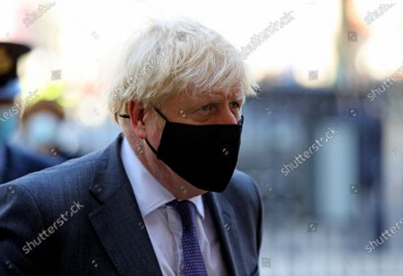 Britain's Prime Minister Boris Johnson arrives for a service to mark the 80th anniversary of the Battle of Britain at Westminster Abbey, London