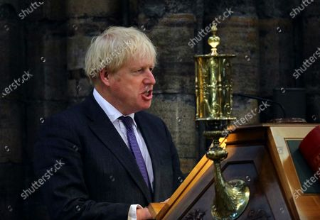 Britain's Prime Minister Boris Johnson delivers a speech a service to mark the 80th anniversary of the Battle of Britain at Westminster Abbey, London