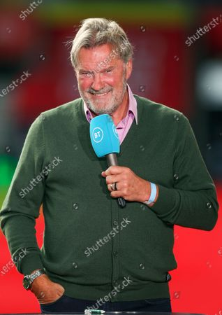 Former Southampton and Tottenham Hotspur manager Glenn Hoddle commentating for BT Sport ahead of the English Premier League match between Southampton and Tottenham Hotspur in Southampton, Britain, 20 September 2020.