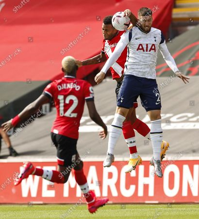 Tottenham Hotspur's Matt Doherty (R) in action with Southampton's Ryan Bertrand (C) during the English Premier League match between Southampton and Tottenham Hotspur in Southampton, Britain, 20 September 2020.