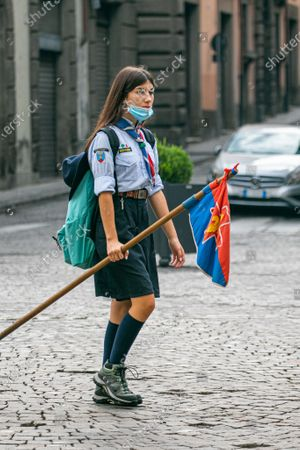 Girl scouts in Viterbo wearing protective facemasks. Italy has seen a steady  increase in coronavirus cases since the start of August but currently is considered a safe holiday destinations and remained on the UK government travel corridor.