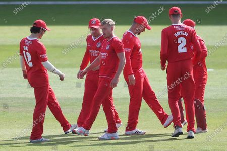 Lancashire Lightnings Joe Burns celebrates the first wicket with Lancashire Lightnings Rob Jones during the Vitality T20 Blast North Group match between Lancashire County Cricket Club and Leicestershire County Cricket Club at the Emirates, Old Trafford, Manchester