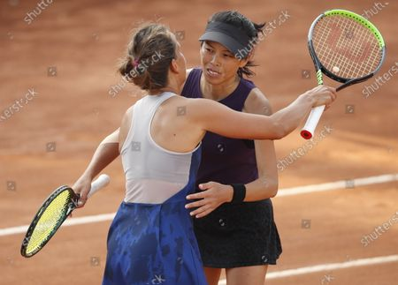 Su-Wei Hsieh of Taipei (R) and Barbora Strycova of the Czech Republic (L) celebrate winning their Women's doubles final match at the Italian Open tennis tournament in Rome, Italy, 20 September 2020.