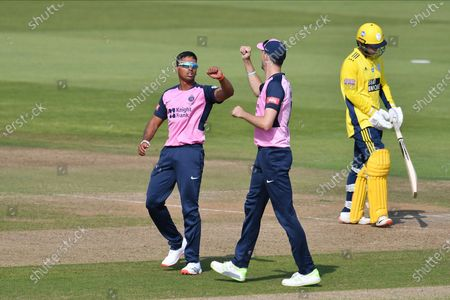 Wicket - Thilan Walallawita of Middlesex celebrates with Steven Finn after dismissing Ian Holland during the Vitality T20 Blast South Group match between Hampshire County Cricket Club and Middlesex County Cricket Club at the Ageas Bowl, Southampton