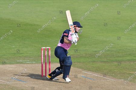 Stock Image of John Simpson of Middlesex batting during the Vitality T20 Blast South Group match between Hampshire County Cricket Club and Middlesex County Cricket Club at the Ageas Bowl, Southampton