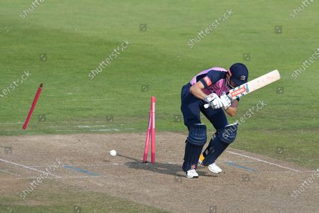 Wicket, hat trick, four wickets in four balls - John Simpson of Middlesex is bowled to become the first of Shaheen Afridi's four wickets in four balls during the Vitality T20 Blast South Group match between Hampshire County Cricket Club and Middlesex County Cricket Club at the Ageas Bowl, Southampton