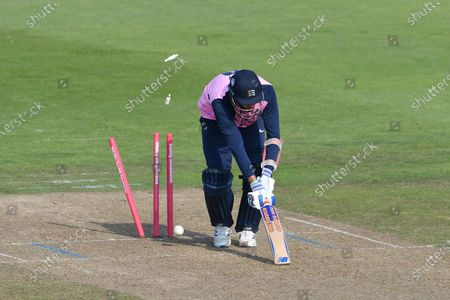 Stock Picture of Wicket, hat trick, four wickets in four balls - Steven Finn of Middlesex is bowled by Shaheen Afridi of Hampshire to become his second victim as the Hamp[shire bowler took four wickets in four balls during the Vitality T20 Blast South Group match between Hampshire County Cricket Club and Middlesex County Cricket Club at the Ageas Bowl, Southampton