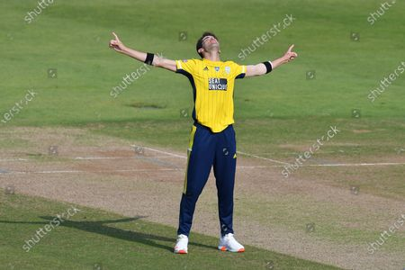 Wicket, hat trick, four wickets in four balls - Shaheen Afridi of Hampshire looks skyward after bowling John Simpson of Middlesex, the first of his four wickets in four balls during the Vitality T20 Blast South Group match between Hampshire County Cricket Club and Middlesex County Cricket Club at the Ageas Bowl, Southampton