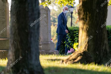 Democratic presidential candidate and former Vice President Joe Biden arrives for mass at St. Joseph on the Brandywine, a Roman Catholic Church, in Wilmington, Del