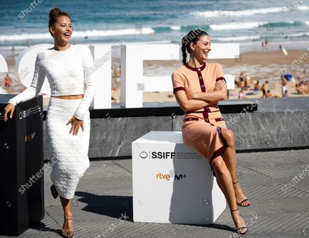 Barbara Lennie (R) and Irene Escolar pose during the presentation of the film 'Hermanas' (Lit: Sisters) at the 68th annual San Sebastian International Film Festival (SSIFF), in San Sebastian, Spain, 20 September 2020. The film festival runs from 18 to 26 September 2020 under safety measures like obligatory face mask use and red carpets without public due to the Covid-19 coronavirus pandemic. Organizers have also reduced the number of film screenings as well as the seating capacity in cinemas.