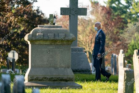 Democratic presidential candidate and former Vice President Joe Biden walks from St. Joseph on the Brandywine, a Roman Catholic Church, after attending mass in Wilmington, Del