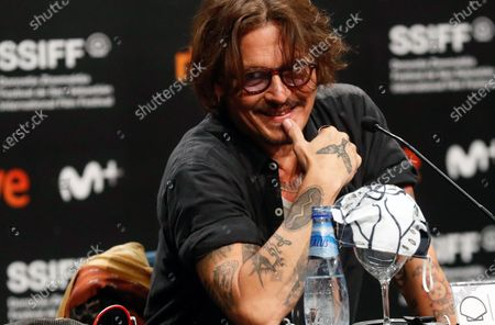 Johnny Depp attends a press conference on 'Crock of Gold: A Few Rounds with Shane McGowan' at the 68th annual San Sebastian International Film Festival (SSIFF), in San Sebastian, Spain, 20 September 2020. The film festival runs from 18 to 26 September 2020 under safety measures like obligatory face mask use and red carpets without public due to the Covid-19 coronavirus pandemic. Organizers have also reduced the number of film screenings as well as the seating capacity in cinemas.