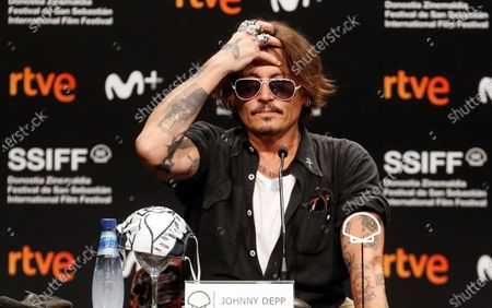 Stock Picture of Johnny Depp attends a press conference on 'Crock of Gold: A Few Rounds with Shane McGowan' at the 68th annual San Sebastian International Film Festival (SSIFF), in San Sebastian, Spain, 20 September 2020. The film festival runs from 18 to 26 September 2020 under safety measures like obligatory face mask use and red carpets without public due to the Covid-19 coronavirus pandemic. Organizers have also reduced the number of film screenings as well as the seating capacity in cinemas.
