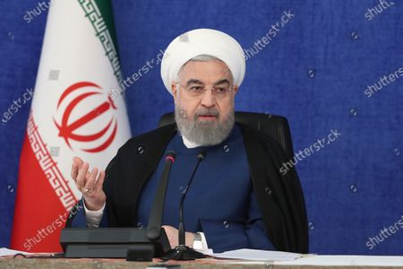 A handout photo made available by the presidential office shows, Iranian president Hassan Rouhani speaks during a cabinet meeting in Tehran, Iran, 20 September 2020. Media reported that Rouhani called today 20 September a historic day for Iran as US failed to unite EU countries and UN to return UN resolution sanctions against the country. Iran called on the rest of the world to unite against the United States, after Washington unilaterally declared UN sanctions against Iran were back in force. Washington has said it will 'impose consequences' on any country not complying with the sanctions.