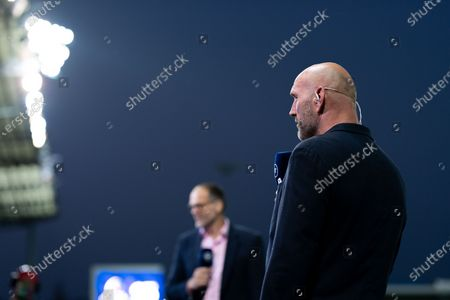 Stock Image of Lawrence Dallaglio presents on BT Sport as him and Martin Bayfield talk to Rob Baxter after the final whistle of the match