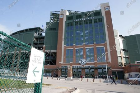General view of the exterior of Lambeau Field before an NFL football game between the Detroit Lions and Green Bay Packers, in Green Bay, Wis