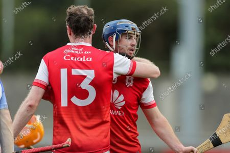 Stock Image of Ballyboden St. Enda's vs Cuala. Cuala's Colm Cronin celebrates after the game with Sean Treacy