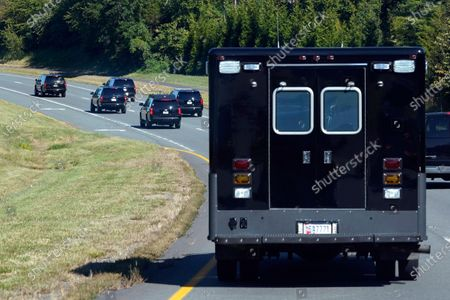 Stock Picture of President Donald Trump's motorcade drives to Trump National Golf Club in Sterling, Va