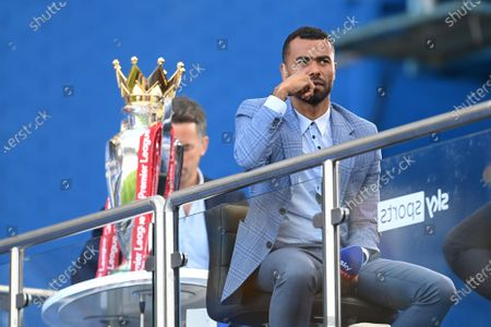 TV pundit Ashley Cole sits on the stands ahead of the English Premier League match between Chelsea vs Liverpool in London, Britain, 20 September 2020.