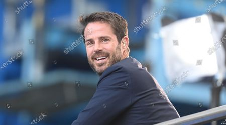TV pundit  Jamie Redknapp sits on the stands ahead of the English Premier League match between Chelsea vs Liverpool in London, Britain, 20 September 2020.