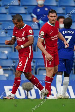 Thiago Alcantara of Liverpool and James Milner of Liverpool