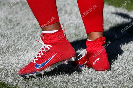 Detail of the Nike cleats worn by New York Giants running back Saquon Barkley before an NFL football game against the Chicago Bears, in Chicago