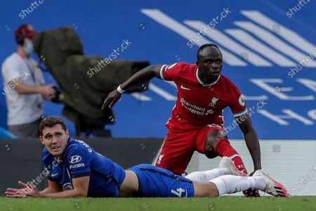 Chelsea's Andreas Christensen and Liverpool's Sadio Mane during the English Premier League soccer match between Chelsea and Liverpool at Stamford Bridge Stadium