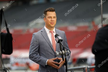 Network reporter James Palmer during a live standup before the Tampa Bay Buccaneers and Carolina Panthers play in an NFL football game, in Tampa, Fla