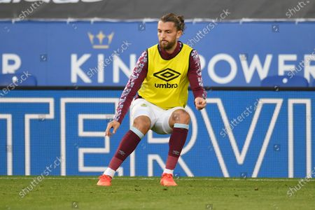 Burnley's Jay Rodriguez warms up ahead of the English Premier League soccer match between Leicester City and Burnley at the King Power Stadium, Leicester, England