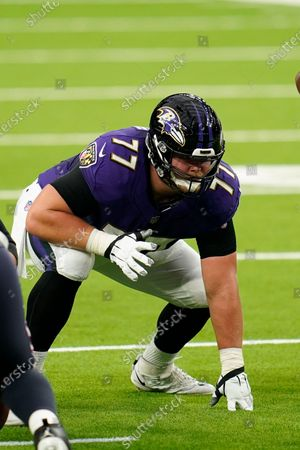 Baltimore Ravens offensive lineman Bradley Bozeman (77) lines up for the snap during an NFL football game against the Houston Texans, in Houston