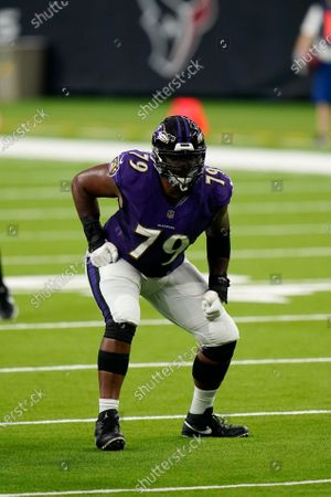 Baltimore Ravens offensive lineman Ronnie Stanley (79) lines up for the snap during an NFL football game against the Houston Texans, in Houston