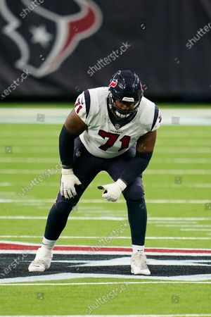 Houston Texans offensive lineman Tytus Howard (71) lines up for the snap during an NFL football game against the Baltimore Ravens, in Houston