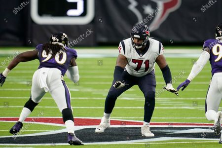 Stock Picture of Houston Texans offensive lineman Tytus Howard (71) looks to block during an NFL football game against the Baltimore Ravens, in Houston