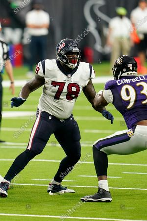 Houston Texans offensive lineman Laremy Tunsil (78) looks to block during an NFL football game against the Baltimore Ravens, in Houston