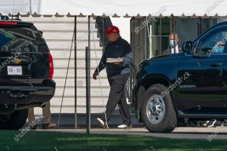 United States President Donald J. Trump boards his motorcade on the South Lawn of the White House in Washington, DC on Sunday, September 20, 2020. The President will travel to Trump National Golf Club in Herndon, Virginia