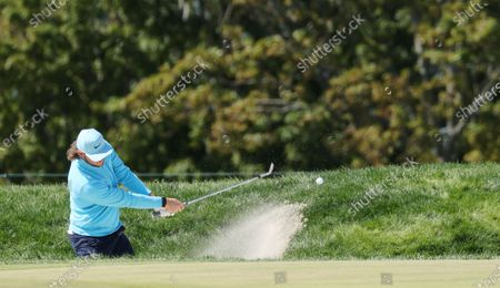 Stock Image of Thomas Pieters of Belgium hits out of a bunker on the first hole during the final round of the 2020 US Open at Winged Foot Golf Club in Mamaroneck, New York, USA, 20 September 2020. The 2020 US Open will be played from 17 September through 20 September in front of no fans due to the ongoing coronovirus pandemic.
