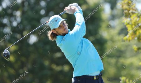 Stock Photo of Thomas Pieters of Belgium hits his tee shot on the second hole during the final round of the 2020 US Open at Winged Foot Golf Club in Mamaroneck, New York, USA, 20 September 2020. The 2020 US Open will be played from 17 September through 20 September in front of no fans due to the ongoing coronovirus pandemic.