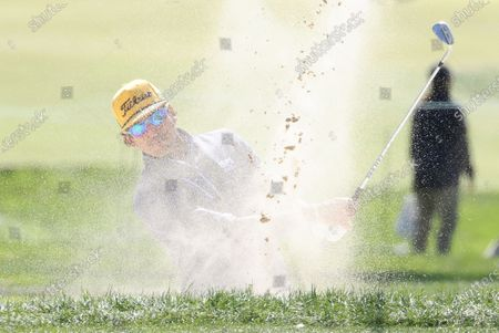 Rafa Cabrera Bello of Spain hits out of a bunker on the first hole during the final round of the 2020 US Open at Winged Foot Golf Club in Mamaroneck, New York, USA, 20 September 2020. The 2020 US Open will be played from 17 September through 20 September in front of no fans due to the ongoing coronovirus pandemic.